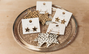 Star Shape Animal Print Dangle Hook Earrings