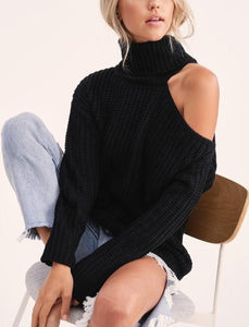 """The Ciara"" Sweater with Open Shoulder in Black"