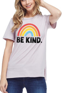 Be Kind Rainbow Tee in CHAMPAGNE Rose