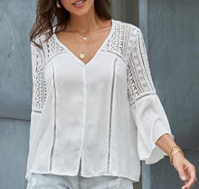 Whimsical White Blouse with Bell Sleeves