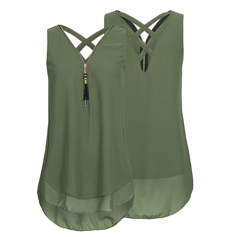 Cheapest and Best Reviews for Plus Size Sleeveless Tassels Chiffon Tank Top Green / Small at shopreview.co