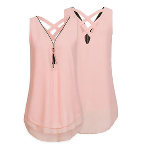 Cheapest and Best Reviews for Plus Size Sleeveless Tassels Chiffon Tank Top Pink / Small at shopreview.co