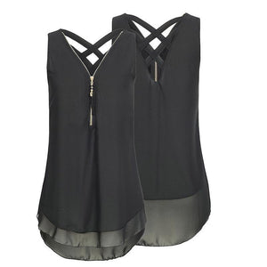 Cheapest and Best Reviews for Plus Size Sleeveless Tassels Chiffon Tank Top Black / Small at shopreview.co