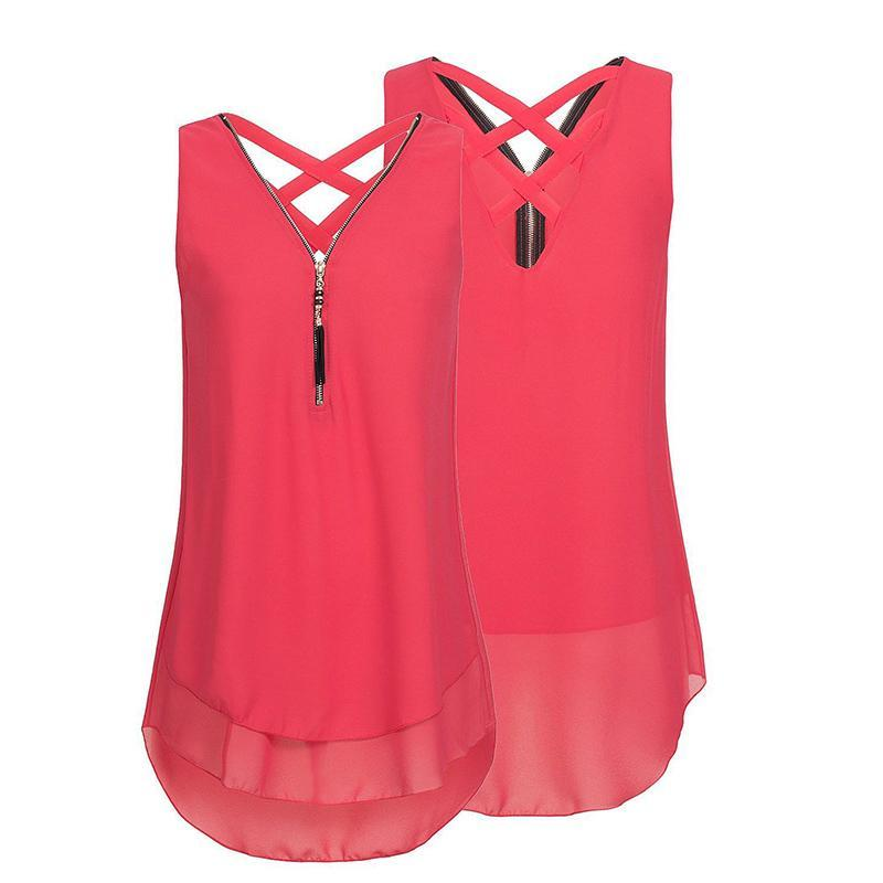 Cheapest and Best Reviews for Plus Size Sleeveless Tassels Chiffon Tank Top Red / Small at shopreview.co