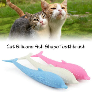 Cat Silicone Fish Shape Toothbrush