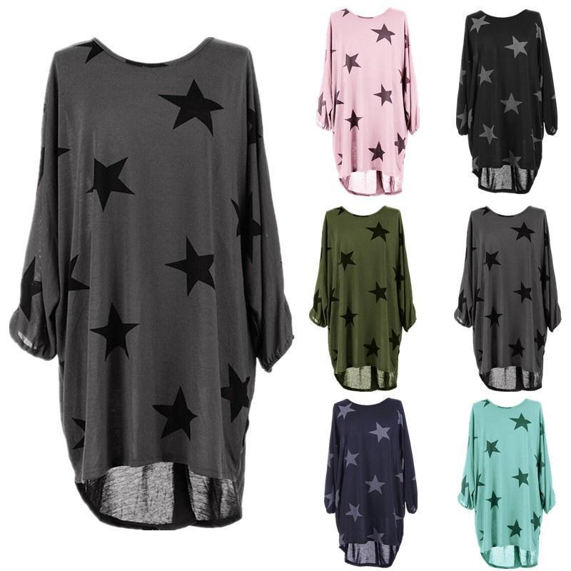 Batwing Stars Print Long Top Dress