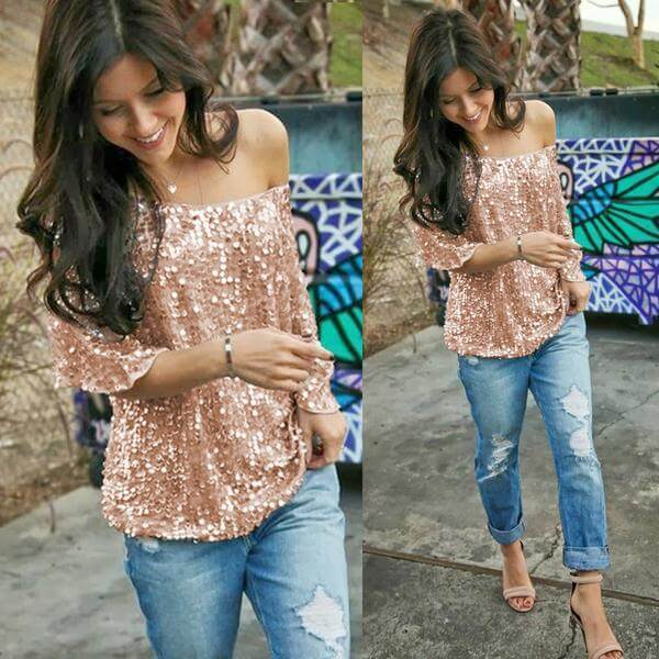 OFF SHOULDER SEQUIN TOP