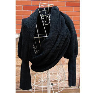 Warm Knit Wool Scarf With Sleeve Wrap
