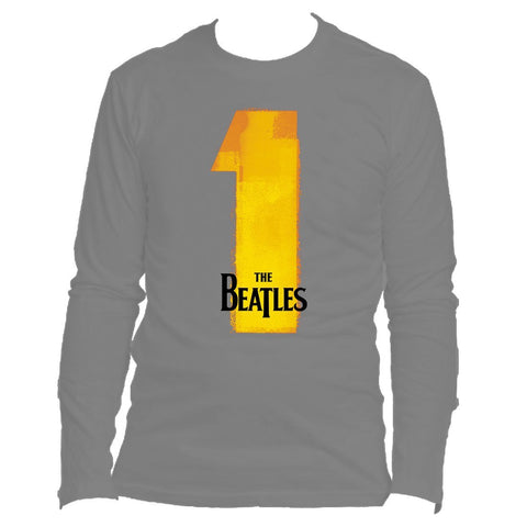 The Beatles Number Ones - Mens Charcoal Long Sleeve T-Shirt