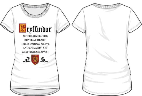 Harry Potter Gryffindor Cheer Sorting Hat's Song Women's White T-Shirt