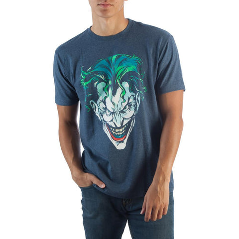 Batman Joker Face Navy Heather T-Shirt
