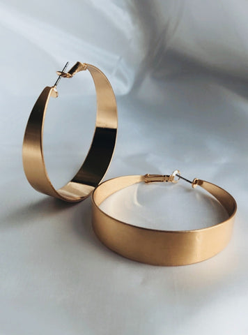 Brushed Wide Hoop Earrings