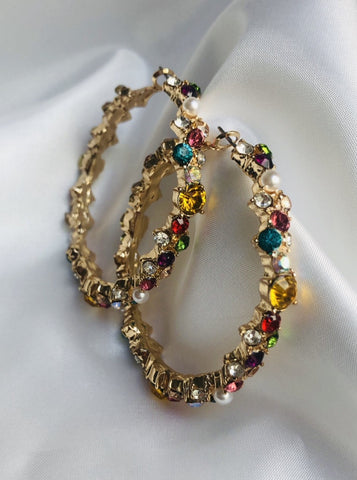 Colorful Stone Hoop Earrings