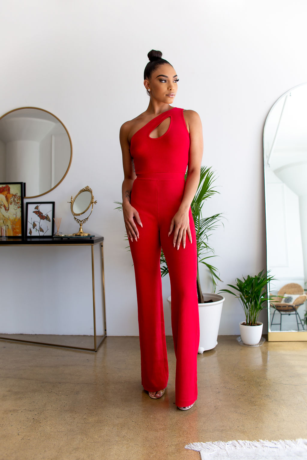 One Shoulder Keyhole Jumpsuit