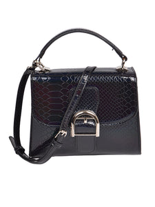 Shiny Snakeskin Satchel Bag