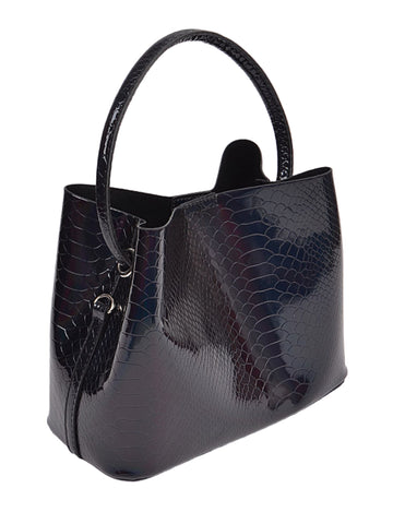 Shiny Snakeskin Bucket Bag