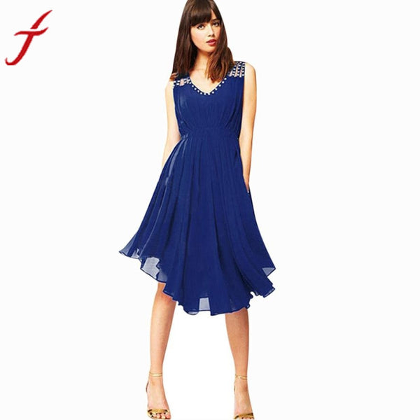 Summer Chiffon Dress Womens Elegant Party Evening Sleeveless Dresses Fashion Knee-Length Beach wear
