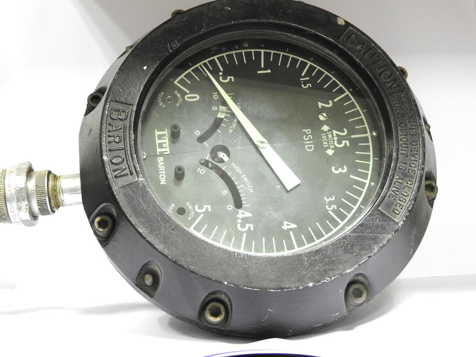 Itt Barton Dp Gauge, Range 0-5 Psid, Swp 3000 Psi, Tag No. 20-Pdish-2524