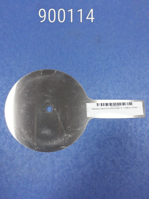 "Stainless Steel 316 Orifice Plate,Size3"", 150#(0.12"" Thk), Penberthy"