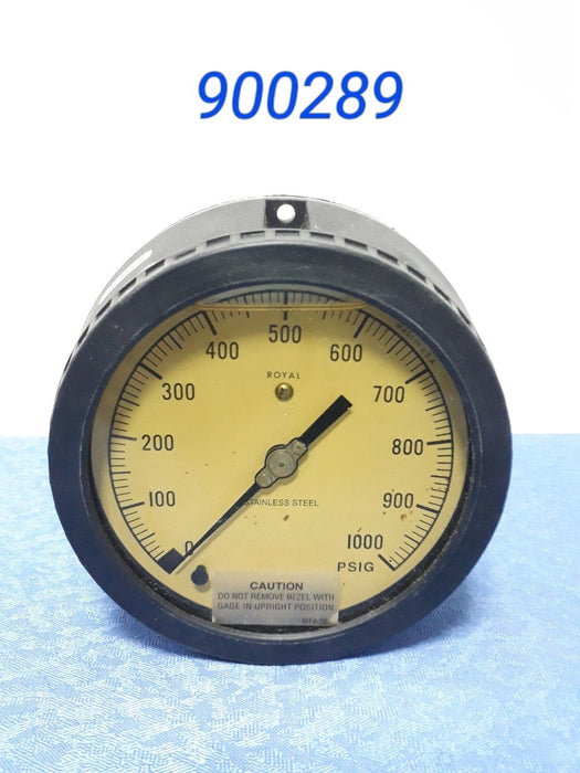 "Weksler Plastic 4.5"", Pressure Gauge, 1/2"" Npt (0-1000Psi) Lower Back Conn.,"