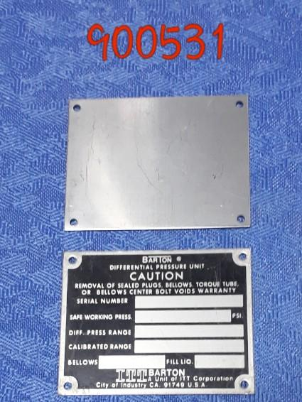 Barton Chart Recorder Dpu Data Plate Tag, (Plain) Itt Barton Old Type - MBENERGY STOCK
