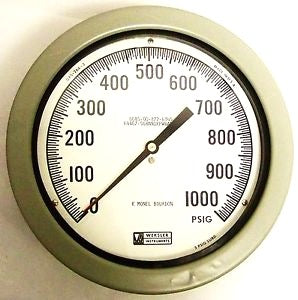 "Weksler Plastic Pressure Gauge 4.5"", 1/2"" Npt (0-1000Psi) Lower Back Conn.,"