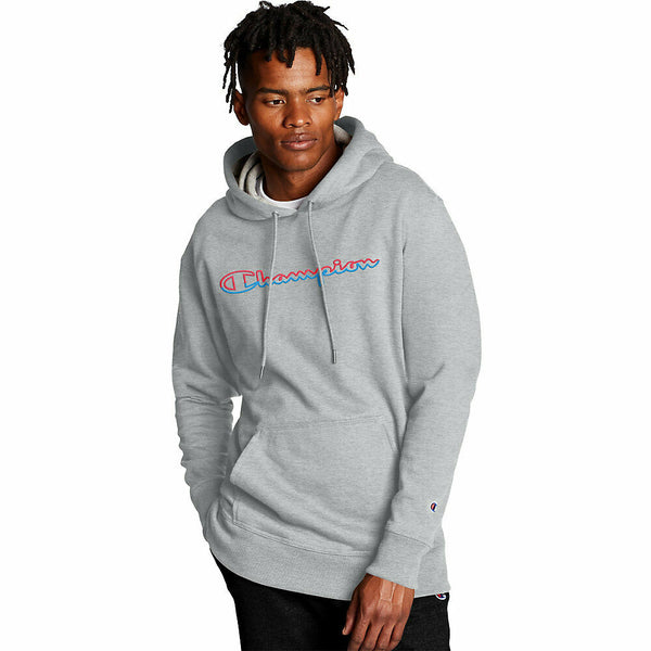 Champion Men's Powerblend Hoodie, Split Script Logo
