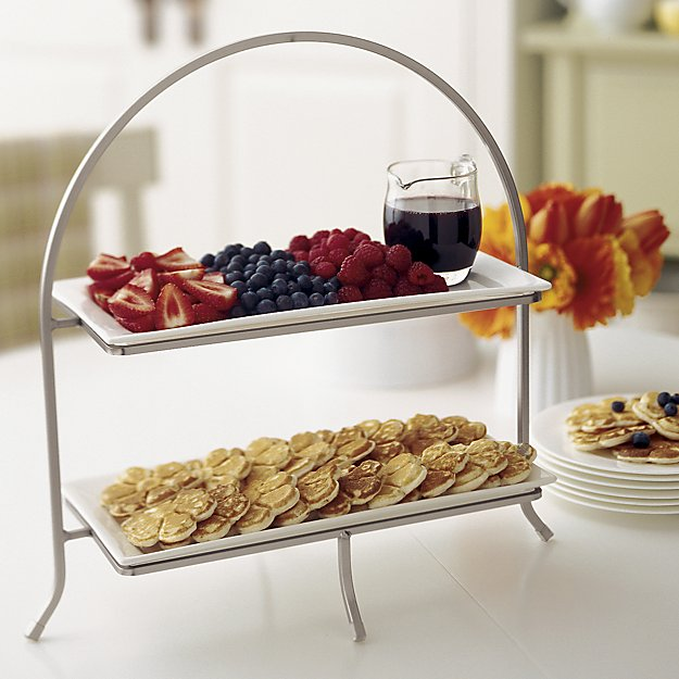 2-Tier Rectangular Stand With Plates