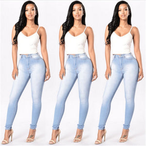 Ladies High Waist Blue Skinny Fit Full Length Button Denim Jegging
