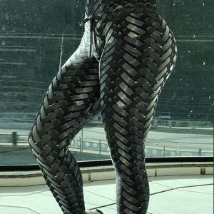 Fashion New Black Weaving Printed Tie Leggings
