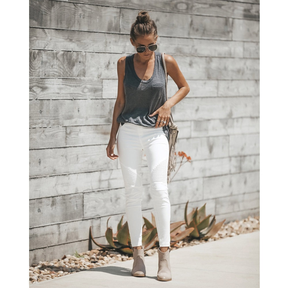 Curvy White Jeans Woman High Waist