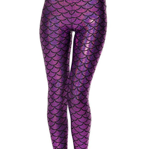 Holographic Mermaid Fish Scale Metallic Geometric Stretch Legging Pant