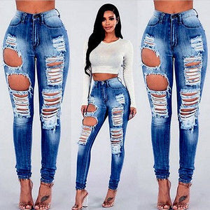 Hole Jean Clothing  Womens Ripped Destroyed Jeggings