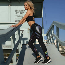 Glowing Striped Fitness Leggings