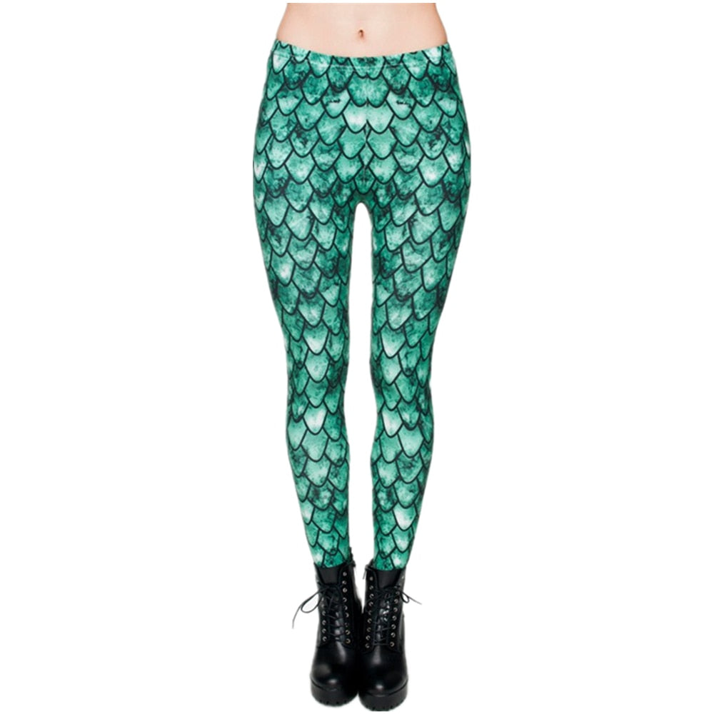 Printing Dragon Green Winter Women Leggings