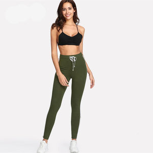 Green Tape High Waist Leggings