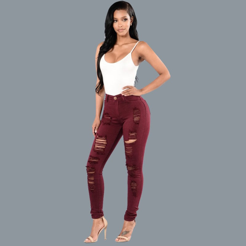 Summer Style Solid Hole Ripped Jeans Jeggings