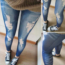 Women Fashions Destroyed Leggings Jeans Look