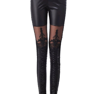 Mesh Faux Leather Pants Jegging