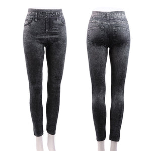 Women Stretch Denim Jean Look Skinny Leggings Slim Jeggings