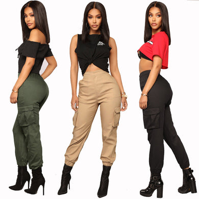 High Waist Pockets Cargo Jeggings