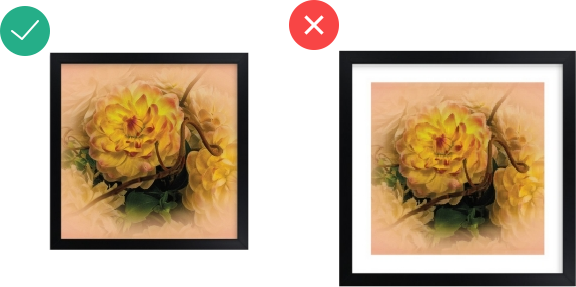 framing an art piece with dominant color on the edges