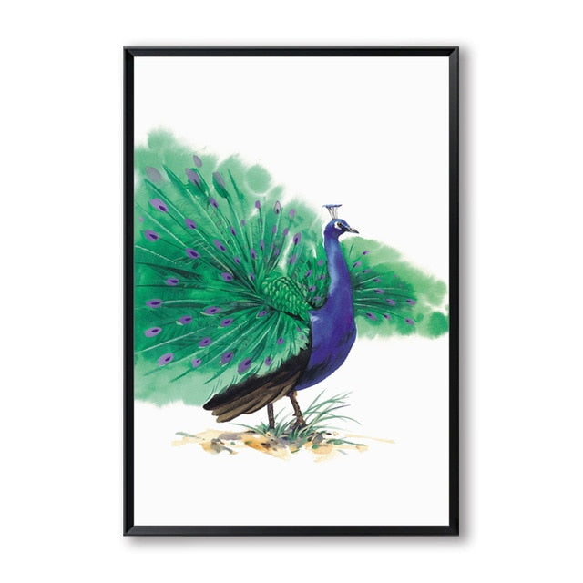 Peacock - watercolor bird art print for nature lovers