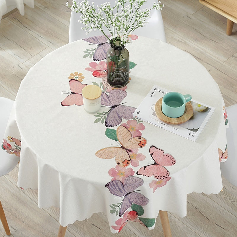 Printed tablecloth for round dining table multiple designs