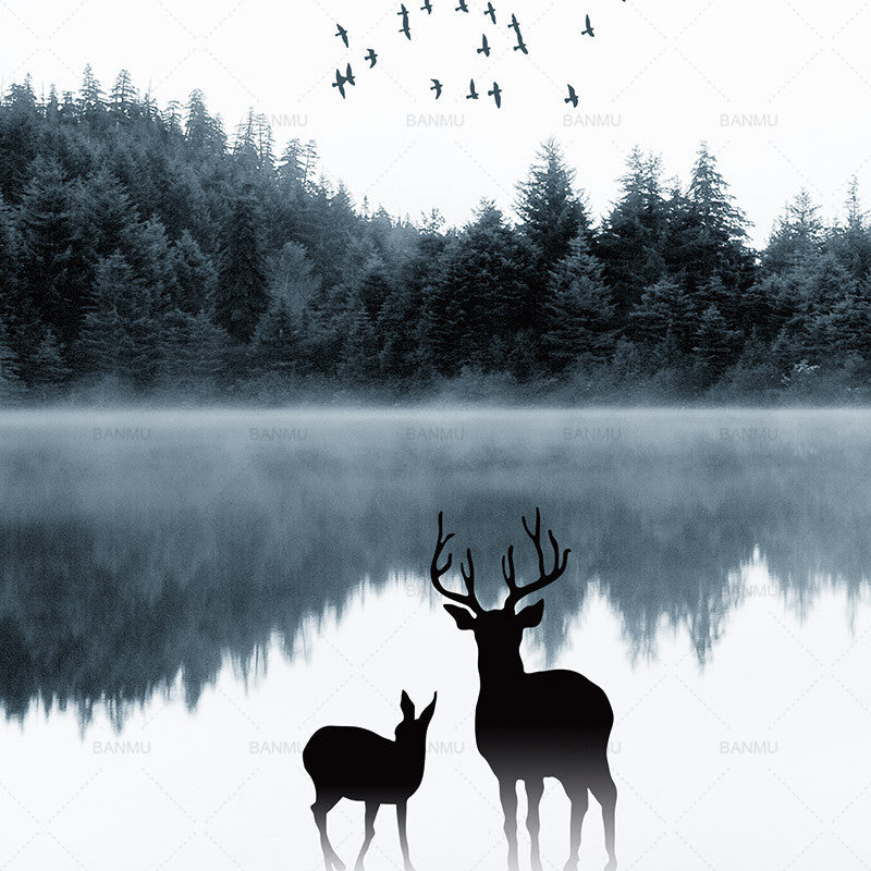 Nordic forest by the lake deer art print inner calm