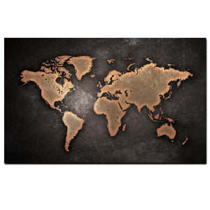 Black copper world map canvas for minimalists