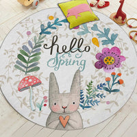 Cartoon rabbit round area rug floor mat playmat