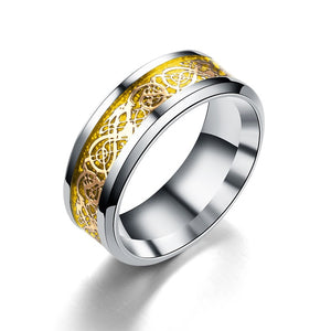 Celtic fantasy dragon ring