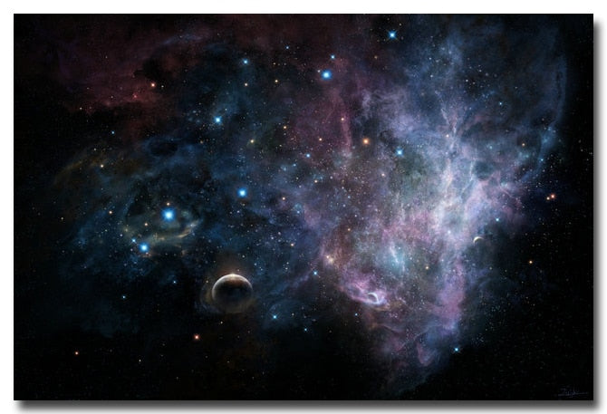 Stars nebula galaxy silk fabric art print for astronomy fans