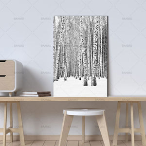 Nordic winter deciduous forest art print for minimalists